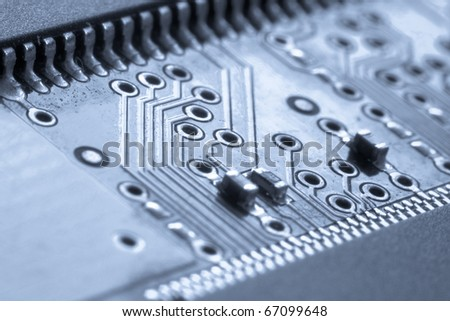 close up of electronic circuit board - stock photo