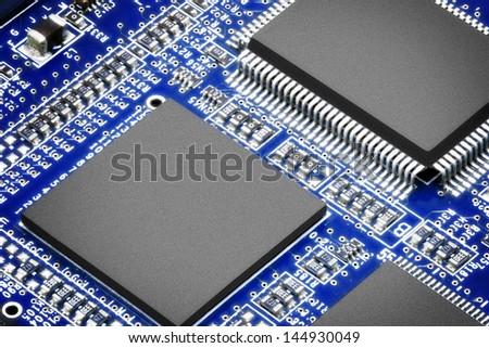 Close-up of electronic circuit board. Macro. - stock photo