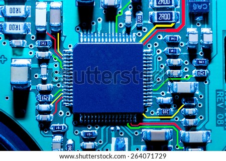 Close-up of electronic circuit board. Macro. - stock photo