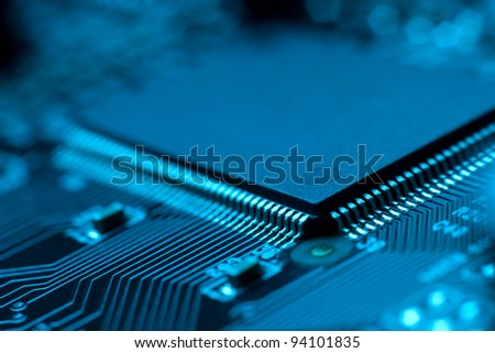 close-up of electronic circuit board with processor. - stock photo
