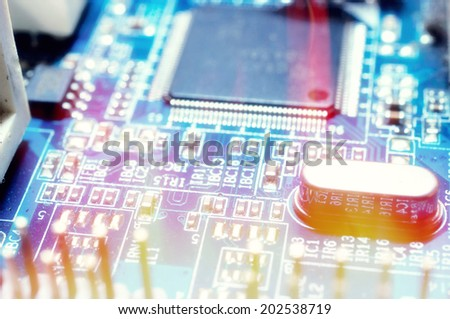 close-up of electronic circuit board with processor.Selective focus in the middle  - stock photo