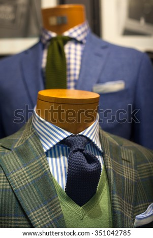 Close up of elegant male suit made in Italy - stock photo