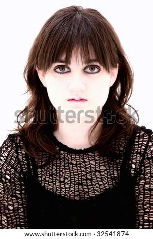 Close up of emo teen girl with big hazel eyes. - stock photo