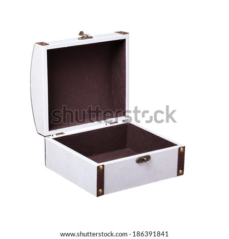 Close-up of empty casket isolated on white  - stock photo