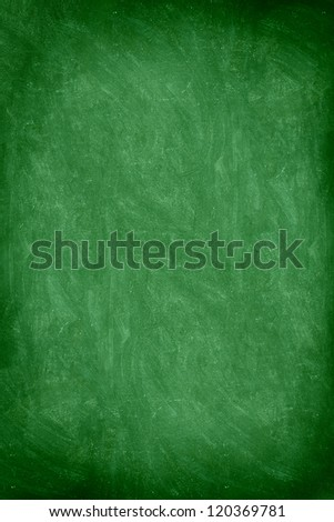 close up of empty school chalkboard / green blackboard. Great texture. Photo. - stock photo