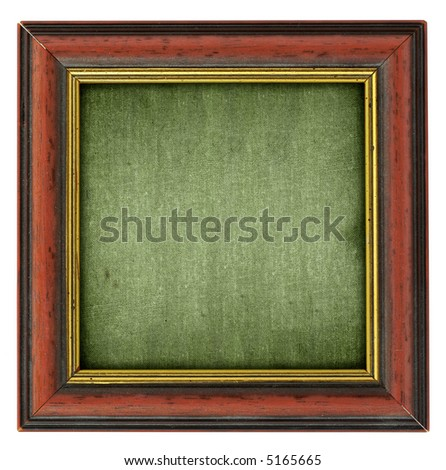 close-up of empty square frame isolated on pure white background - stock photo