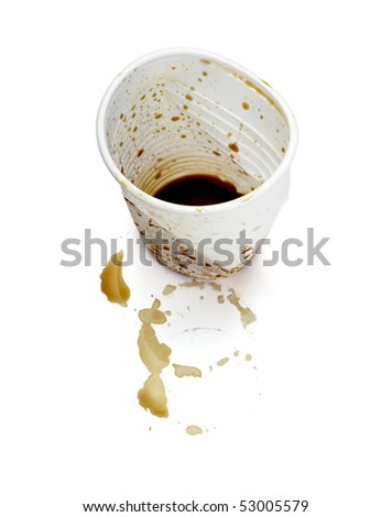 close up of empty used coffee cups on white background with clipping path - stock photo