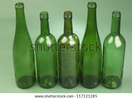 Close-up of empty wine bottles