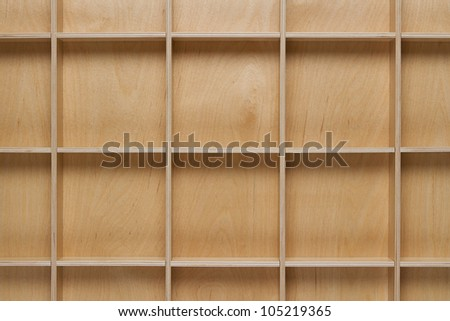 Close up of empty wooden shelf with copy space - stock photo