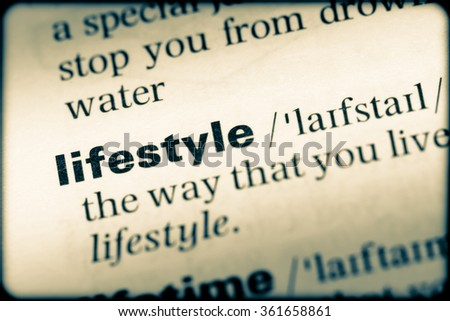 Close up of English dictionary page with word liftstyle - stock photo