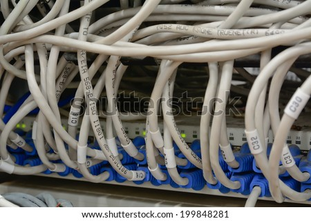 close-up of  ethernet cables connected to computer  internet server with many dust
