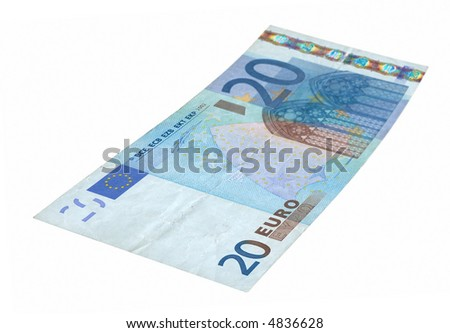 close-up of 20 Euro banknote isolated on white background