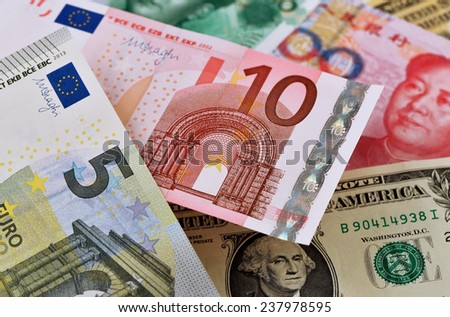 Close-up of Euro banknotes - stock photo