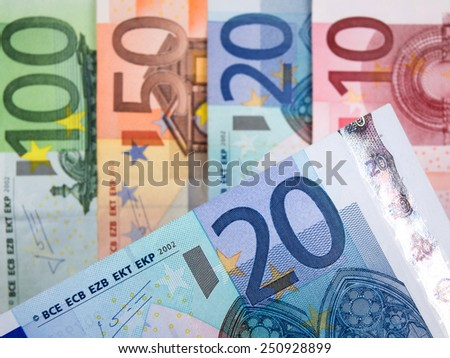 Close up of Euro banknotes with 20 Euros in focus