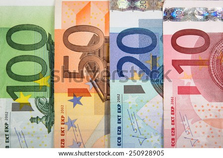 Close up of Euro banknotes with various denomination - stock photo