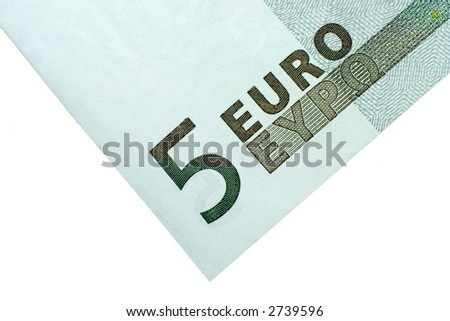 Close-up of 5 Euro bill isolated on a white background - stock photo