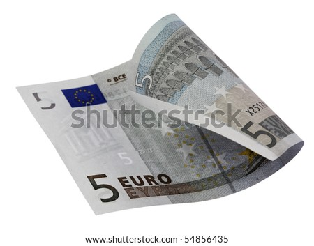 Close-up of 5 Euro bill,isolated on white with clipping path. - stock photo