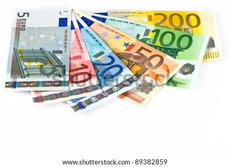 close up of euro currency. cash banknotes. money background - stock photo