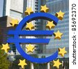 Close-up of Euro Symbol at the European Central Bank (ECB) in Frankfurt, Germany. - stock photo