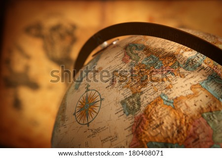 Close up of europe on globe - stock photo
