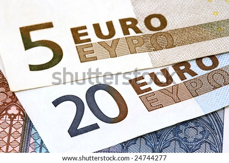 close up of European currency banknotes - stock photo