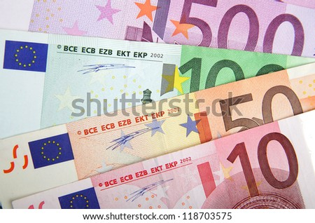 Close up of Euros banknotes - stock photo