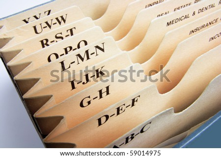 Close Up of Expanding File - stock photo