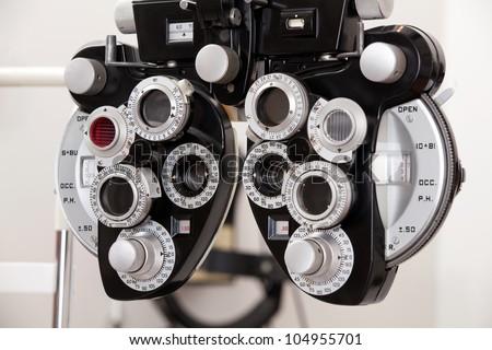 Close-up of eye exam equipment. - stock photo