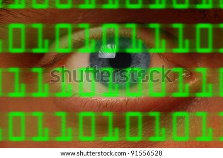 Close-up of eyeball watching digital binary code - stock photo
