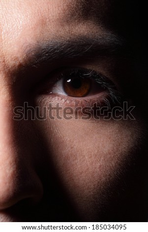 Close up of eyes from a young man, asian - stock photo