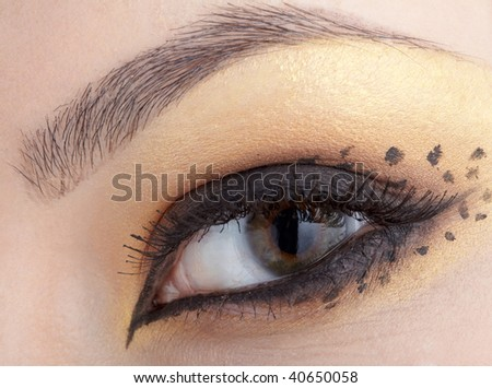 close-up of eyes with make-up in leopard style - stock photo
