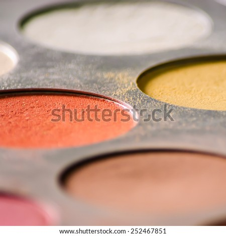 Close up of eyeshadow palette - stock photo