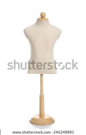 Close up of fabric dummy on white background isolated - stock photo