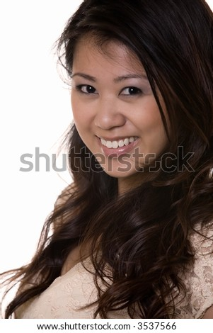 Close up of face of a beautiful brunette Asian woman with long hair over white