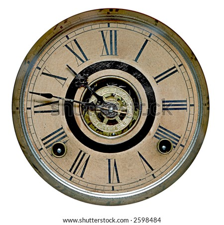 Close-up of face of old grandfather clock - stock photo