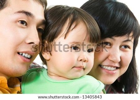 Close-up of faces of father, mother and their daughter