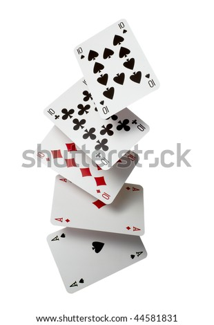 close up of  falling playing cards poker game on white background with clipping path - stock photo