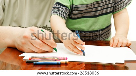 close up of father and son drawing over white - stock photo