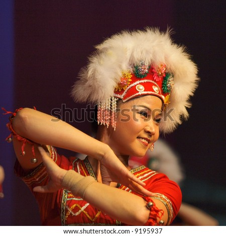 Close up of female acrobat from the Taiwan National Junior College of Performing Arts - stock photo