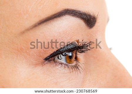 Close-up of female brown eye with makeup - stock photo