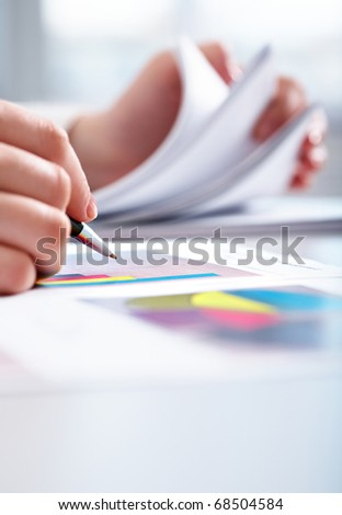 Documents On Office Table Three Men Stock Photo