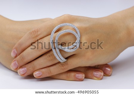 Close up of female hands with ring