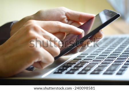 Close-up of  female hands working  - stock photo