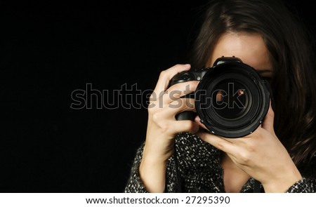 Close-up of Female Photographer w/SLR - stock photo