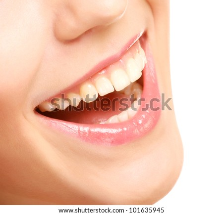 Close-up of female smile with healthy teeth - stock photo