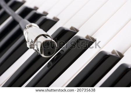 close up of female XLR (microphone) connector on piano - stock photo