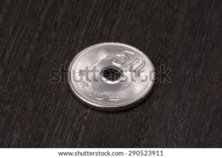 close up of fifty yen - stock photo