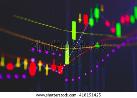 Close up of finance business graph which including of Up trend and Down trend. Business to grow in the active high trend and low trend. Growing business graph with rising up trend. Wealth management.