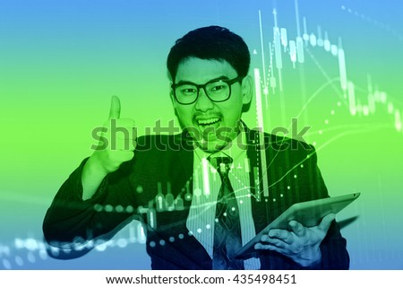 Close up of finance business graph which including of Up trend and Down trend . Business to grow in the active high trend and low trend. Growing business graph with rising up trend. - stock photo