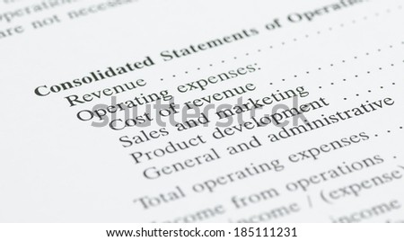 close up of financial statement - stock photo